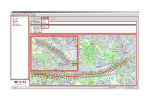 """<div class=""""bildtext_en"""">Route of the Emscher Interceptor, construction section 40 on the overview map in the online platform, with various settings available for the display of the data</div>"""