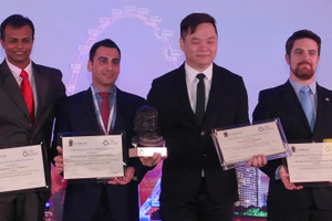 12)&nbsp;&nbsp;&nbsp; Derek Eng (4<sup>th</sup> from the right) is the 2016 Young Tunneller of the Year and hails from Malaysia. From left: Ruth Haug, ITA vice-president, with the finalists Oh Jinnie (Singapore), Senthil Nath GT (Singapore), Mehdi Bakhshi (USA), Derek Eng (Malaysia), Marlisio Oliveria Cecilio Junior (Brazil) and Jiang Chao (China) as well as ITA vice-president Eric Leca