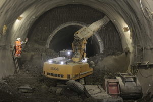 """<div class=""""bildtext_en"""">A Liebherr hydraulic excavator was employed to tackle the work in the drives produced by sprayed concrete technology</div>"""