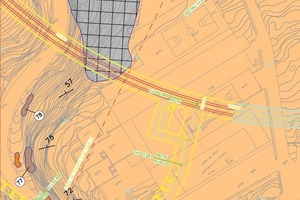 Site plan with access ramp and tunnels in yellow<br />