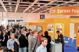 """<div class=""""bildtext_en"""">The """"Career Point"""" logo identifies the booths of all those companies, which will be targeting young people and informing them about career opportunities</div>"""