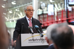 """<div class=""""bildtext_en"""">Former Swiss Federal Council member Adolf Ogi talked about the political decision-making process leading to the Gotthard Base Tunnel and NRLA 