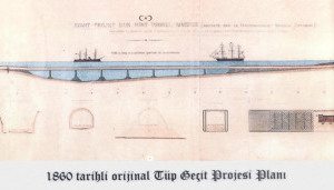 "<div class=""bildtext_en"">Historic section drawing with the design of a submarine tunnel viaduct in the Bosporus</div>"