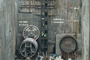 """<div class=""""bildtext_en"""">Assembly of the first Variable Density TBM S-774 with an outside diameter of 6.6 m in the launching shaft at Cochcrane in Kuala Lumpur, Malaysia, in March 2013</div>"""