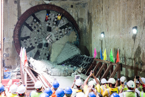 Celebrating CR-51 TBM breakthrough in front of the cutterhead