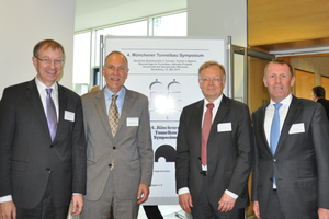 "<div class=""bildtext_en"">The organizers of the 4<sup>th</sup> Munich Tunnelling Symposium (from the left): Dr.-Ing. Roland Leucker (STUVA), Univ. Prof. Jürgen Schwarz (construction management), Univ. Prof. Manfred Keuser (massive construction) and Univ. Prof. Conrad Boley (foundation engineering)</div>"