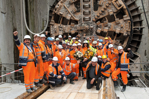 "<div class=""bildtext_en"">Ceremony on occasion of the arrival of the tunnel boring machine AMELI in the final reception shaft on 4 June 2012</div>"