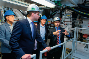 "<div class=""bildtext_en"">The mayor of Quito, Dr. Mauricio Rodas, (front left) talking to engineer Martin-Devid Herrenknecht at the technical acceptance of the two EPB Shields in Schwanau</div>"
