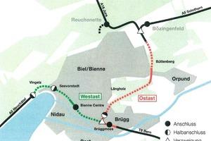 Projekt Umfahrung Biel unterteilt in Ost- und Westast